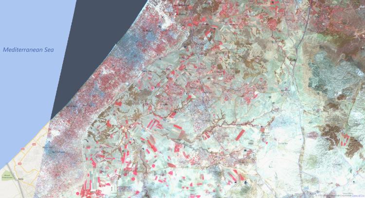 Gaza Strip captured from satellite land observation
